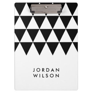 White with Black Triangle Modern Minimalist Clipboard