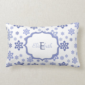 White with Blue Snowflakes Monogram Lumbar Cushion
