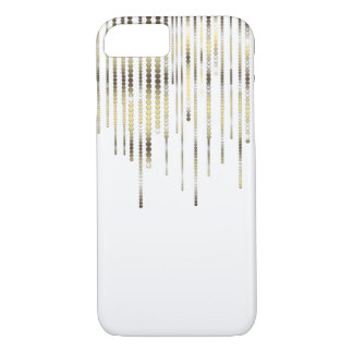 White with Gold Strands Coins Discs Luxury Sparkle iPhone 7 Case