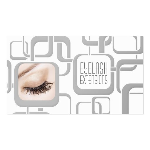 White With Grey Cubes Eyelash Extensions Card Business Card Templates