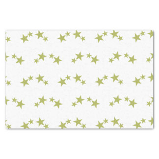 White with lime green stars tissue paper