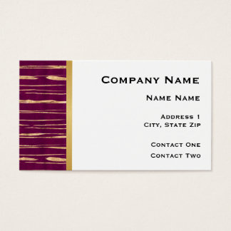 White with Maroon and Gold Lines and Gold Stripe Business Card