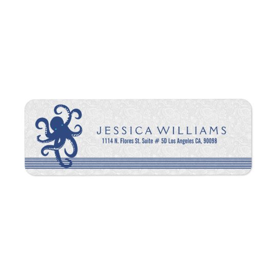 White With Navy Blue Cute Octopus Return Address Label