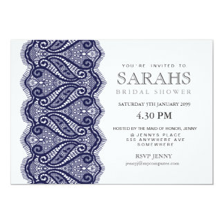 White with Navy Lace Bridal Shower Party Invite