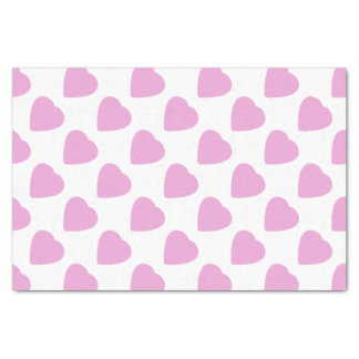 White With Pink Hearts Pattern Valentine's Day Tissue Paper