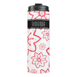 White With Red Flowers And Name Thermal Tumbler