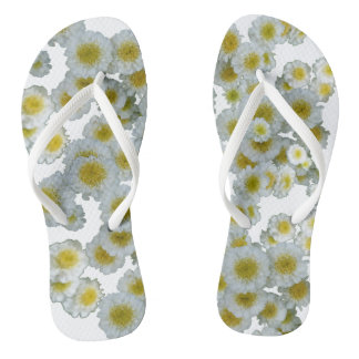 White with yellow heart Flowers Flip Flops Thongs