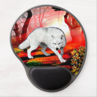 White wolf - arctic wolf - american wolf gel mouse pad