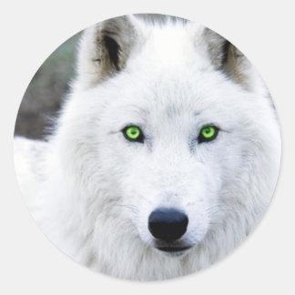 White Wolf Classic Round Sticker