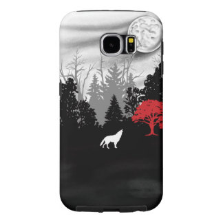 White wolf in forest with red tree Samsung case