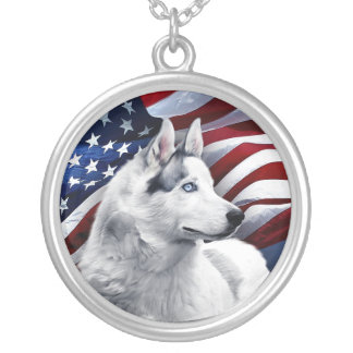 White Wolf in front of American Flag Silver Plated Necklace