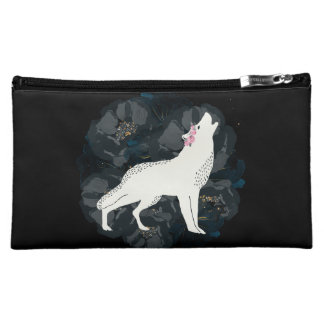 White Wolf on Circle of Black Roses Bag Cosmetic Bag