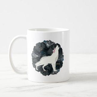 White Wolf on Circle of Black Roses Mug