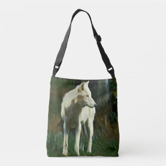 White Wolf Painting Crossbody Bag