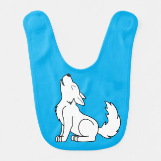 White Wolf Pup Howling Baby Bibs