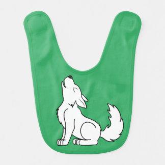 White Wolf Pup Howling Bib