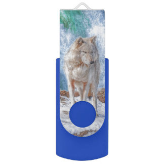 White Wolf & Waterfall Wildlife Art USB Flash Drive