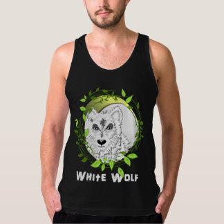 White Wolf Wild Animal Illustration Singlet