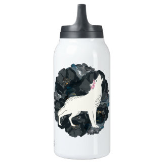 White Wolf with Black Roses Hot & Cold Bottle