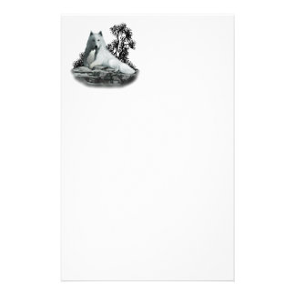 White Wolf with Pup Stationery