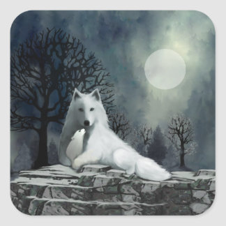 White Wolf with Pup Stickers
