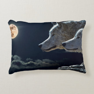 White Wolves in the Full Moon Decorative Cushion