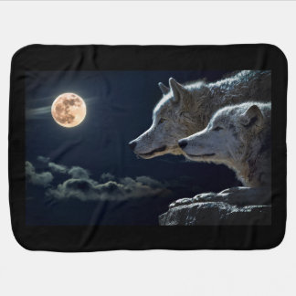 White Wolves in the Full Moon Swaddle Blankets