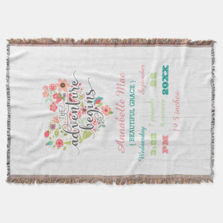 White Wood Floral Heart Baby Girl Birth Stats Throw Blanket