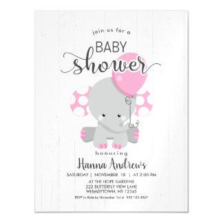 White Wood Pink Elephant Baby Shower Invitation