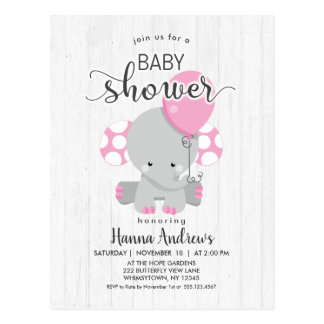 White Wood Pink Elephant Baby Shower Invitation Postcard