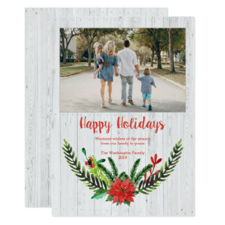 White wood plank Christmas watercolor wreath photo Card