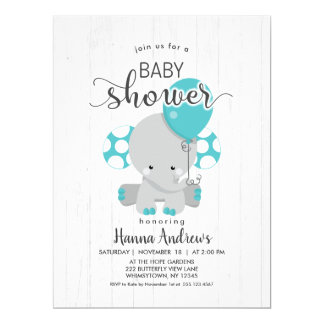 White Wood Teal Elephant Baby Shower Invitation