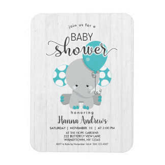 White Wood Teal Elephant Baby Shower Invitation Magnet