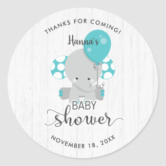 White Wood & Teal Elephant Baby Shower Thank You Classic Round Sticker
