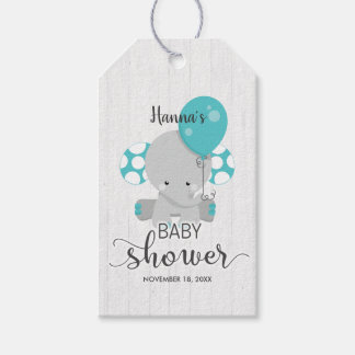 White Wood & Teal Elephant Baby Shower Thank You Gift Tags
