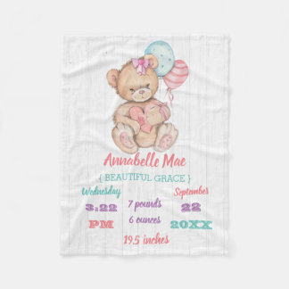 White Wood & Teddy Bear Baby Girl Birth Stats Fleece Blanket