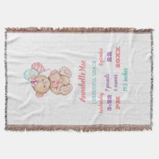 White Wood & Teddy Bear Baby Girl Birth Stats Throw Blanket