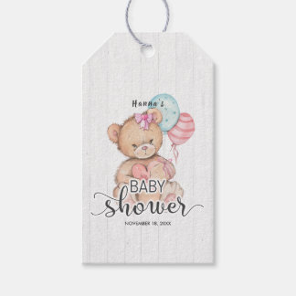 White Wood & Teddy Bear Girl Baby Shower Thank You Gift Tags