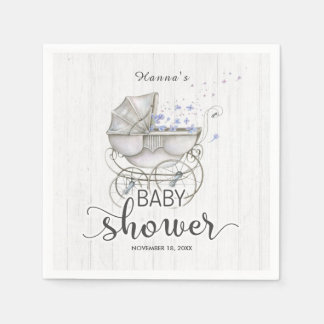 White Wood & Vintage Carriage Boy Baby Shower Disposable Serviettes