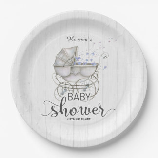 White Wood & Vintage Carriage Boy Baby Shower Paper Plate