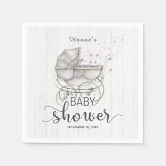White Wood & Vintage Carriage Girl Baby Shower Disposable Napkins