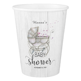 White Wood & Vintage Carriage Girl Baby Shower Paper Cup