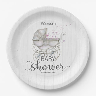 White Wood & Vintage Carriage Girl Baby Shower Paper Plate