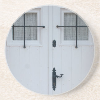 White Wooden Door With Black Wrought Iron Works Coaster