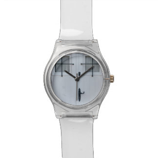 White Wooden Door With Black Wrought Iron Works Wrist Watches