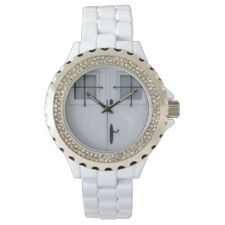 White Wooden Door With Black Wrought Iron Works Wristwatches