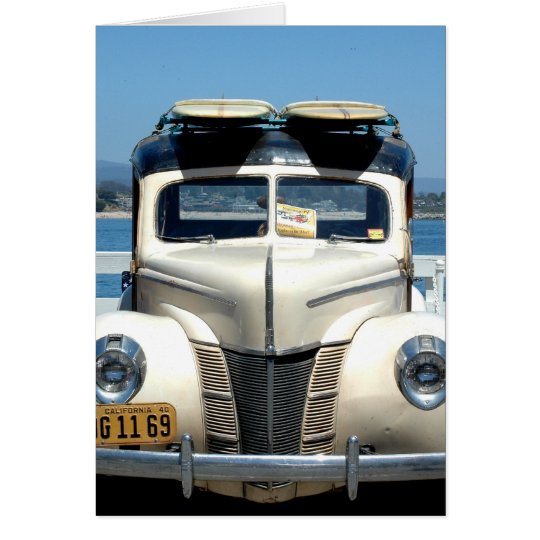 White woody with surfboards card