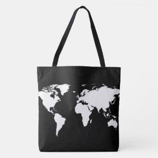 white world map on black tote bag