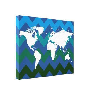 white world-map on chevron canvas print
