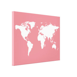 white world-map on pink stretched canvas prints